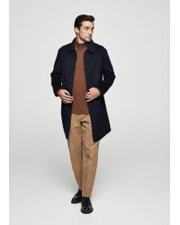 Mango - Blue Buttoned Wool Coat - Lyst