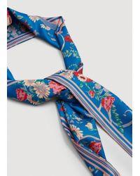 Mango - Blue Printed Satin Scarf - Lyst