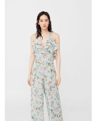 Mango - Green Ruffled Floral Jumpsuit - Lyst