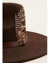 Mango - Brown Feather Detail Fedora Hat for Men - Lyst