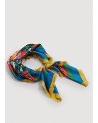 Mango - Blue Flowers Printed Scarf - Lyst