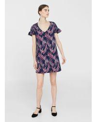 Mango - Blue Textured Printed Dress - Lyst