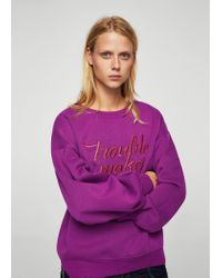 Mango - Purple Metallic Message Sweatshirt - Lyst