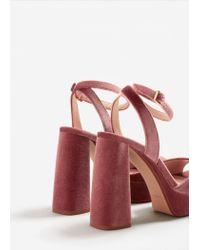 Mango - Pink Platform Velvet Sandals - Lyst