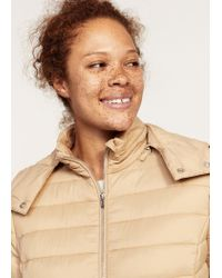 Violeta by Mango - Natural Detachable Hood Quilted Coat - Lyst