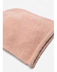 Mango - Pink Metal Thread Beanie - Lyst