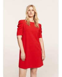 Violeta by Mango | Red Ruched Sleeve Dress | Lyst