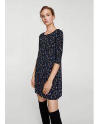 Mango - Blue Flowy Printed Dress - Lyst