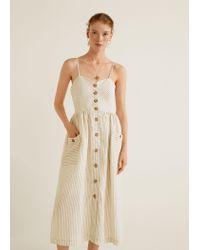 6080c0b425 Mango Pockets Linen-blend Dress in Natural - Lyst