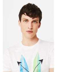 Mango - White Printed Cotton T-shirt for Men - Lyst