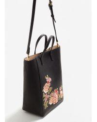 Mango | Black Floral Embroidery Shopper Bag | Lyst