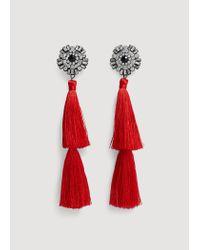 Mango - Red Pompon Beads Earrings - Lyst