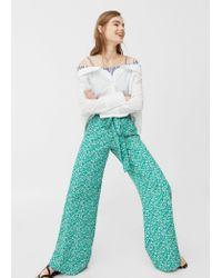 Mango - Green Printed Culottes - Lyst