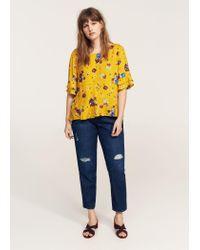 Violeta by Mango - Yellow Ruffles Floral Blouse - Lyst