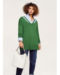 Violeta by Mango - Green Neck Cut-out Sweater - Lyst