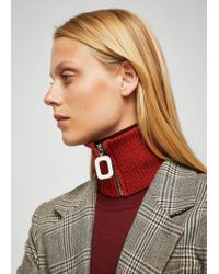 Mango - Red Zipped Knit Collar - Lyst