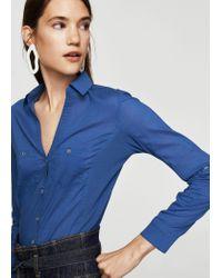 Mango - Blue Overshirt - Lyst