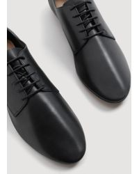Mango - Black Leather Flat Shoes - Lyst