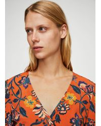 Mango - Orange Floral Wrap Dress - Lyst
