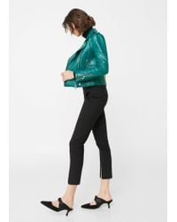 Mango - Green Appliqué Biker Jacket - Lyst