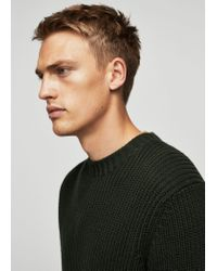 Mango - Green Knit Cotton Sweater for Men - Lyst
