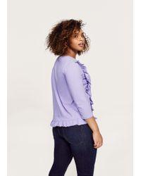 Violeta by Mango Purple Frills Cotton T-shirt