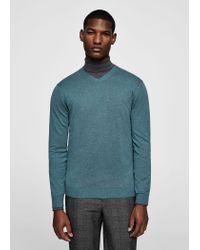 Mango - Green Textured Cotton Cashmere-blend Sweater for Men - Lyst