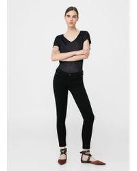 Mango - Black Flowy T-shirt - Lyst