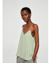 Mango - Green Openwork Trims Lace Top - Lyst