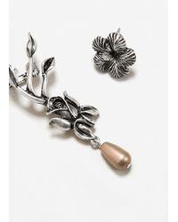 Mango - Metallic Floral Ear Cuff - Lyst