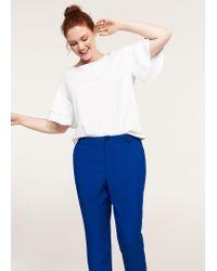Violeta by Mango - Blue Flowy Straight-fit Trousers - Lyst