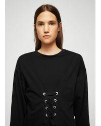 Mango - Black Corset Desing Dress - Lyst