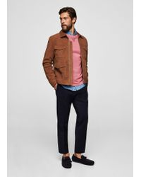 Mango - Pink Textured Cotton Sweater for Men - Lyst