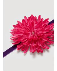 Mango - Pink Flower Appliqué Necklace - Lyst