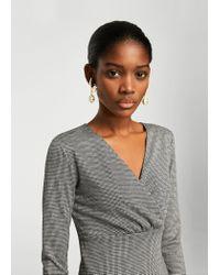 Mango - Black Houndstooth Pattern Dress - Lyst
