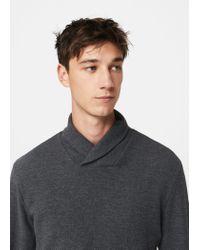 Mango - Gray Flecked Cotton-blend Sweater for Men - Lyst