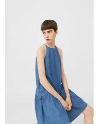 Mango | Blue Frilled Denim Dress | Lyst