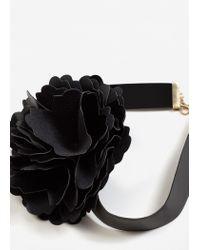 Mango - Black Flower Appliqué Necklace - Lyst