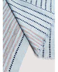 Mango - Blue Printed Cotton Linen Scarf - Lyst