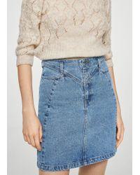 Mango - Blue Slit Denim Skirt - Lyst