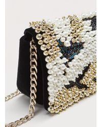 Violeta by Mango | Black Chain Bead Bag | Lyst