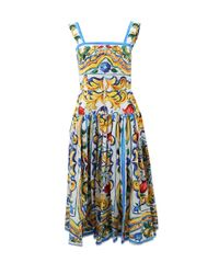 Dolce & Gabbana - Multicolor Majolica Print Flared Dress - Lyst