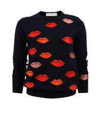 Victoria, Victoria Beckham - Blue Lip Embroidered Sweater - Lyst