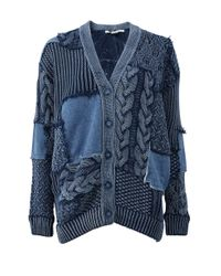 Stella McCartney - Blue Mixed Media Oversized Cardigan - Lyst