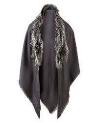 Fendi - Multicolor Touch Of Fur Shawl - Lyst