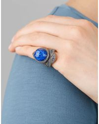 Sevan Biçakci - Blue Carved Lotus Flower Ring In Rock Quartz - Lyst