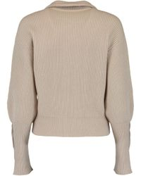 Brunello Cucinelli - Natural Zip Up Cropped Cardigan - Lyst