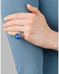 Sevan Biçakci - Blue Carved Lotus Flower Ring In Rock Quartz - Lyst