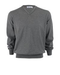 Brunello Cucinelli - Gray V-neck Fine Gauge Sweater for Men - Lyst