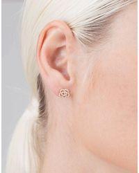 EF Collection - Metallic Diamond Rose Stud Earrings - Lyst